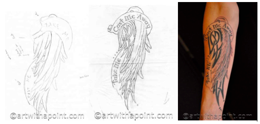 concept design, final design and completed tattoo