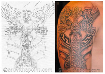 concept design and final tattoo