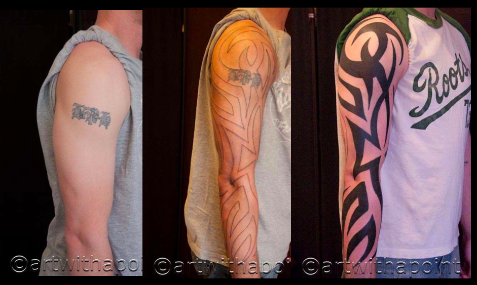 Evolution of a tattoo… and *POOF* the oldie is a goner… Tribal Coverup
