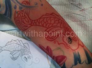 Koi outline for half sleeve