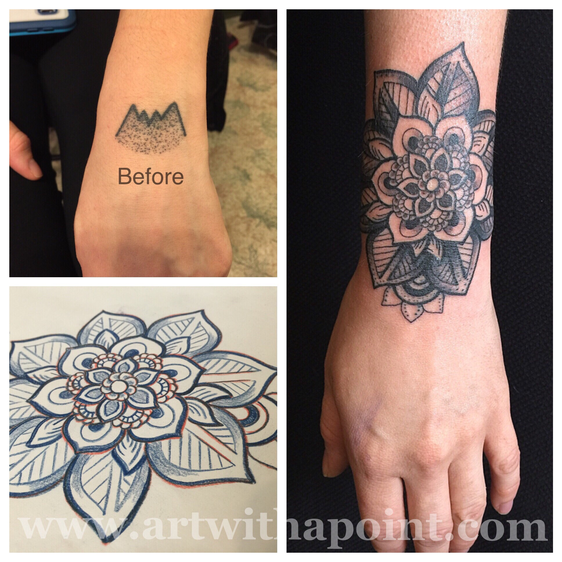 Art With A Point » Black and Gray Coverup | Custom Tattoo Studio ...