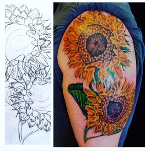 Art with a Point tattoo - sunflower